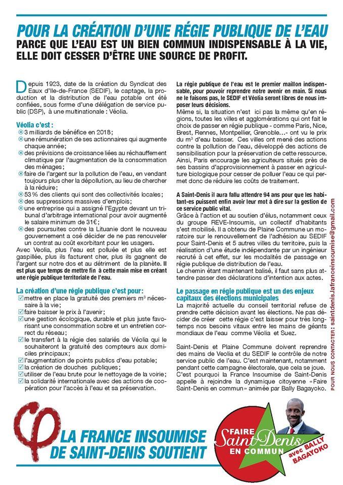 Depuis 1923, date de la création du Syndicat des Eaux d'Ile-de-France (SEDIF), la distribution de l'eau et sa production ont été confiées, sous forme d'une délégation de service public (DSP),  à une multinationale : Véolia.